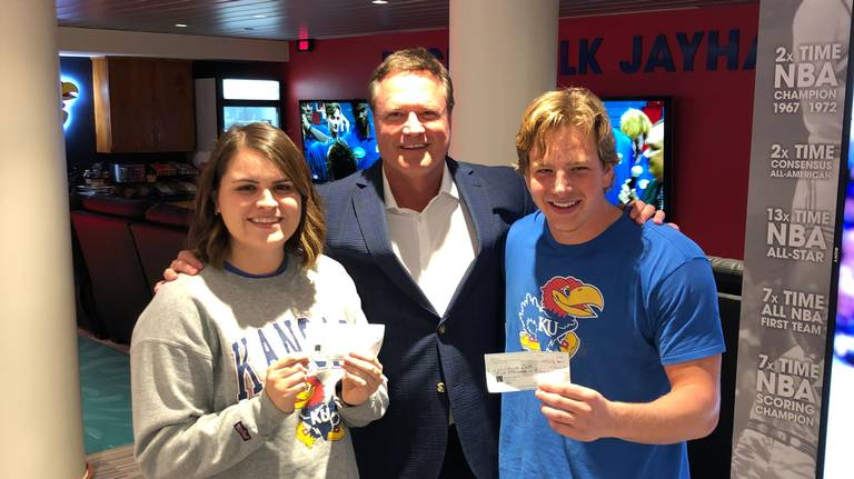 Two KU fans won $5,000 from Bill Self at Late Night. Here's how they plan to spend it
